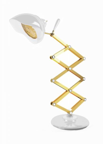 DelightFULL Tischlampe Billy Weiß Gold