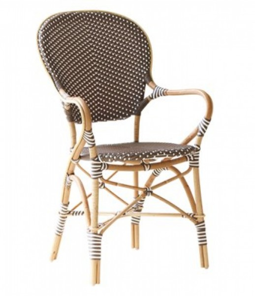 Sika Design Rattan-Stuhl Isabell Cappuccino mit Armlehnen 2er Set