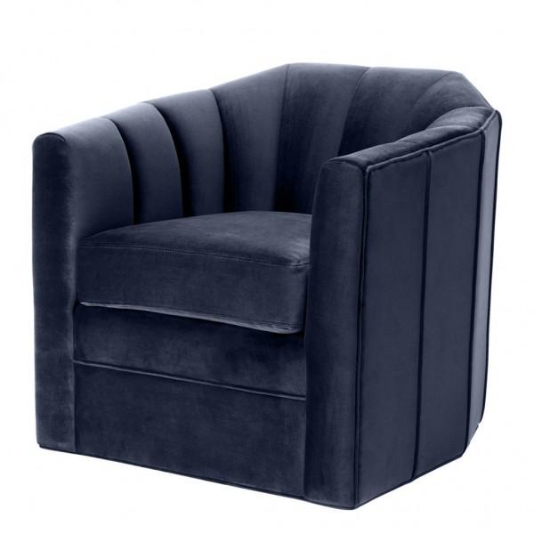 EICHHOLTZ Swivel Chair Delancey savona midnight blue