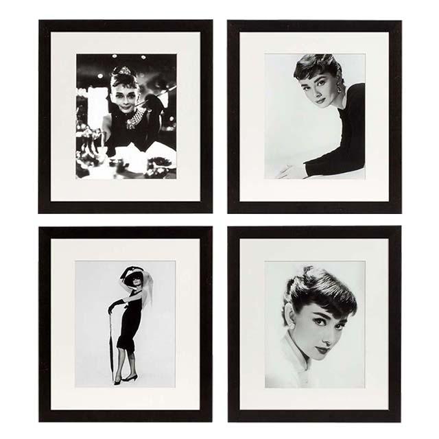 eichholtz prints audrey hepburn set von 4 bei. Black Bedroom Furniture Sets. Home Design Ideas