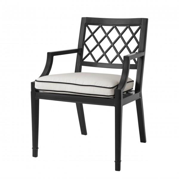 EICHHOLTZ Dining Chair Paladium mit Armlehnen Schwarz