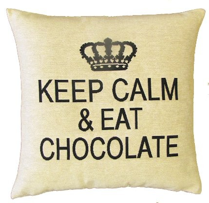 Sequoia Jacquard Kissen Keep calm & eat chocolate white
