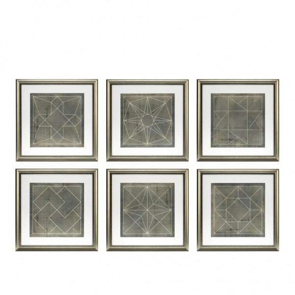 EICHHOLTZ Kunstdruck gerahmt Geometric blueprints Set von 6 Stk.