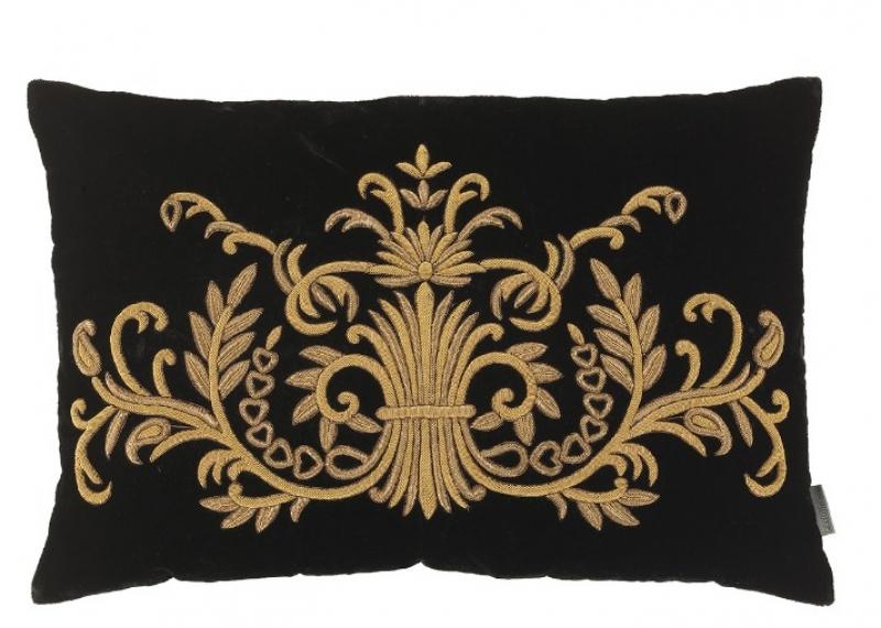 Wohn-Luxus pur - Kissen aus schwarzem Samt mit Goldstickerei