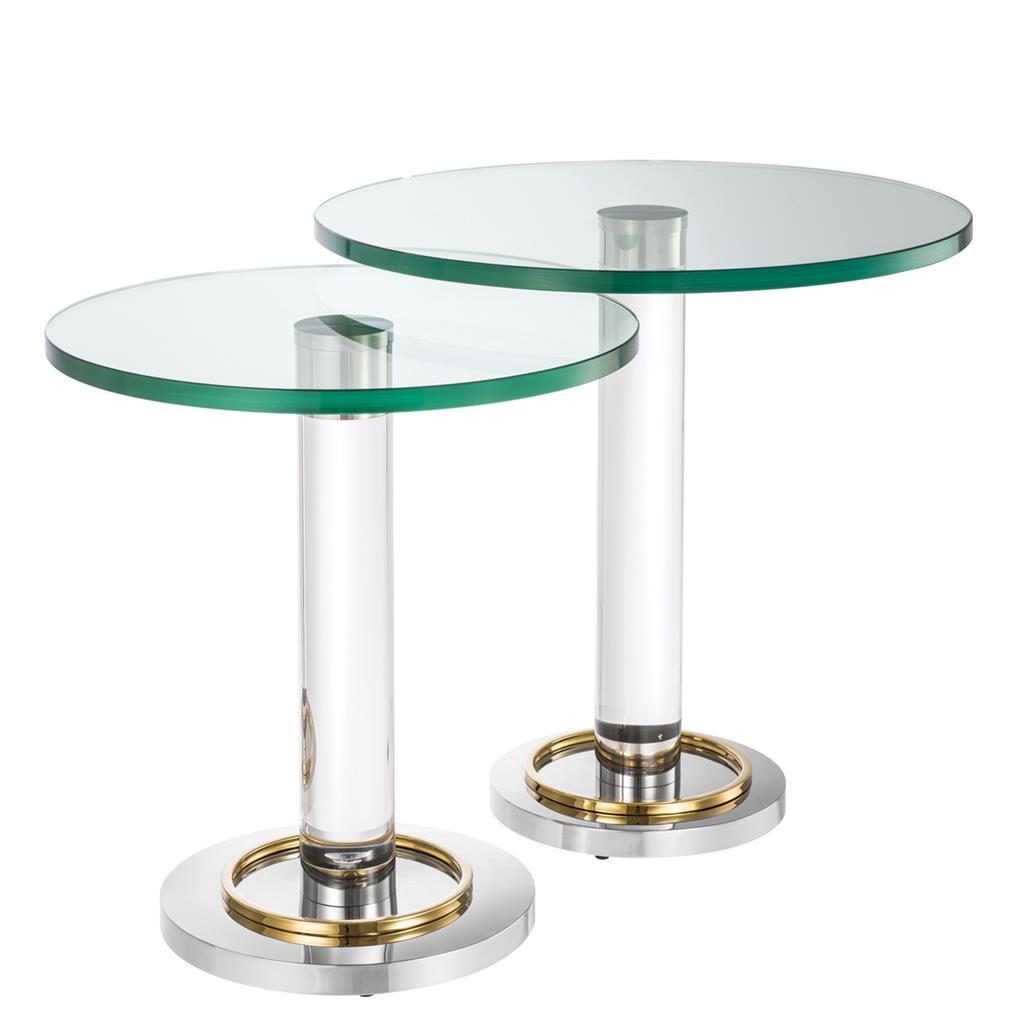 Elegantes Side-Table-Ensemble im Materialmix aus Glas, Acrylglas und Edelstahl
