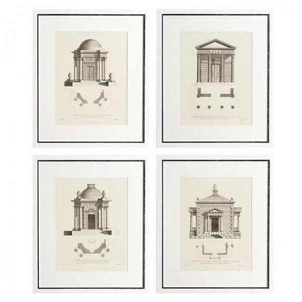 EICHHOLTZ Kunstdruck gerahmt Architecture Set von 4 Stk.