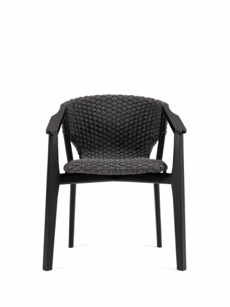 Ethimo Knit Stuhl mit Armlehnen Mahagony 2er Set
