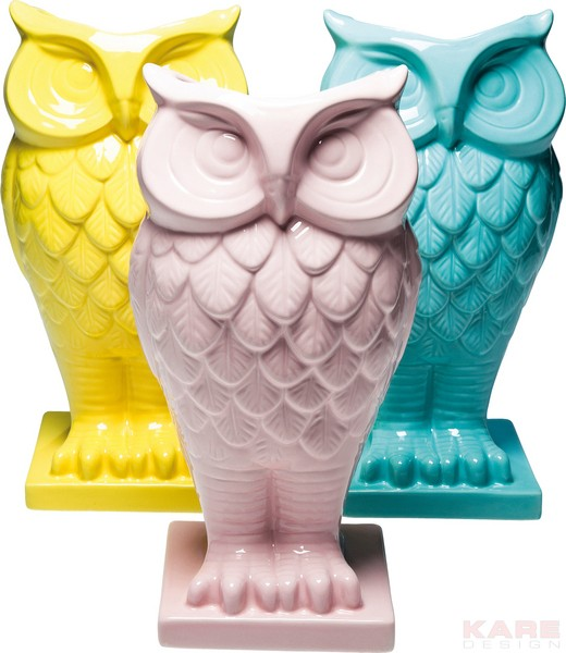 KARE Vase Owl Pastel yellow